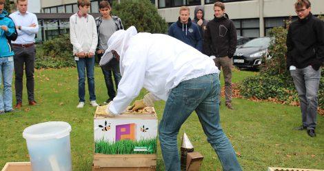 Vor den Augen interessierter Piepenbrock-Mitarbeiter machte Dieter Schimanski den Bienenstock fit für den Winter.