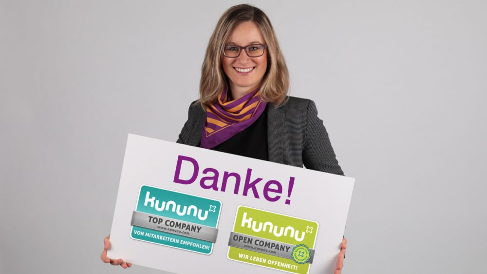 "Auszeichnung ""Open Company"" und ""Top Company"" durch kununu"