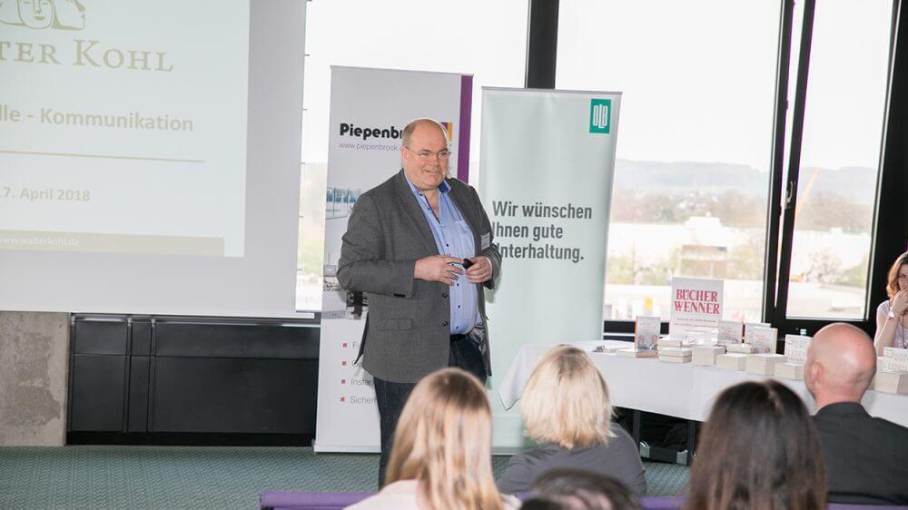 Walter Kohl referierte im Piepenbrock Service Center zu Kommunikation, Führung und Motivation.