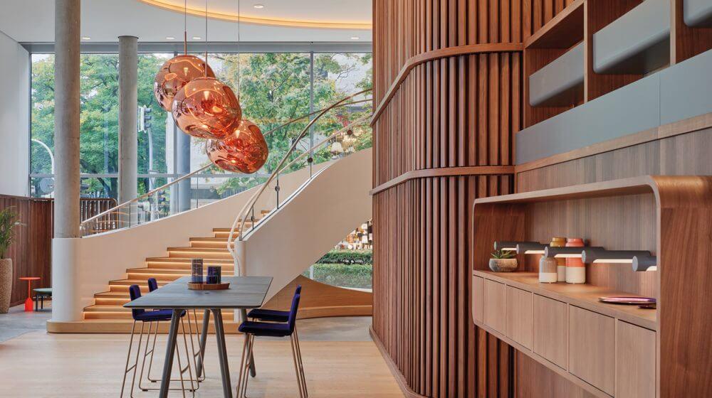 Der Eingangsbereich des Steelcase Learning + Innovation Center in München.
